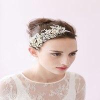 Liść Opaski Wstążka Perły Kryształy Hairwear Moda Dziewczyna Trendy Biżuteria Ślubna Ozdoby Aluminiowe Rose Rhinestone Akcesoria