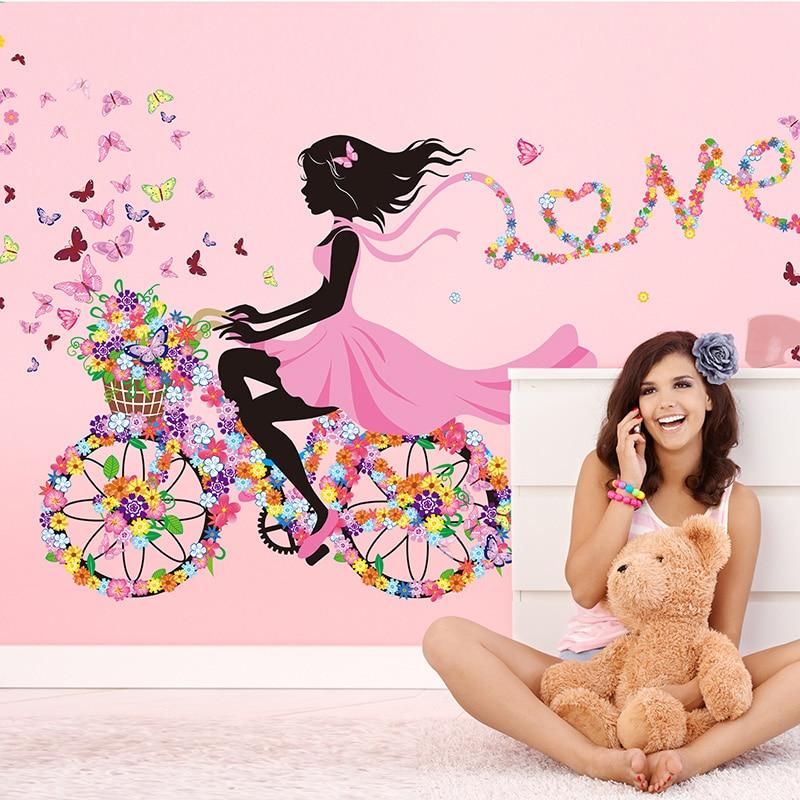 [SHIJUEHEZI] Fee Mädchen Wand Aufkleber Vinyl DIY Bunte Schmetterlinge Fahrrad Wandbild Kunst für Kinder Zimmer Kindergarten Dekoration