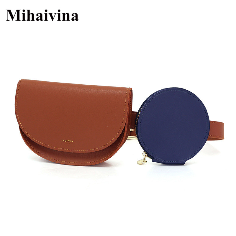 Mihaivina Fashion Women Waist Bags With Round Bag Set Female Fanny Packs Leather Belt Bag Money Belt Purse Travel Waist Pack