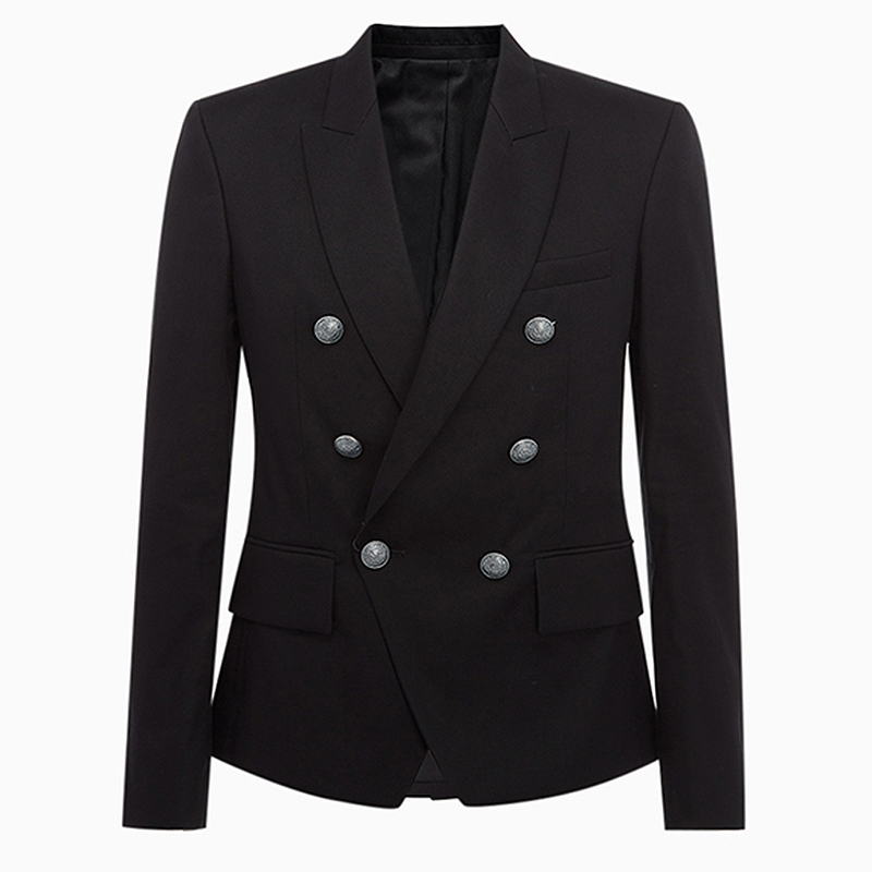 TOP QUALITY Runway 2020 Designer Men's Blazer Classic Double Breasted Metal Lion Buttons Blazer Men's Jacket Outer Wear