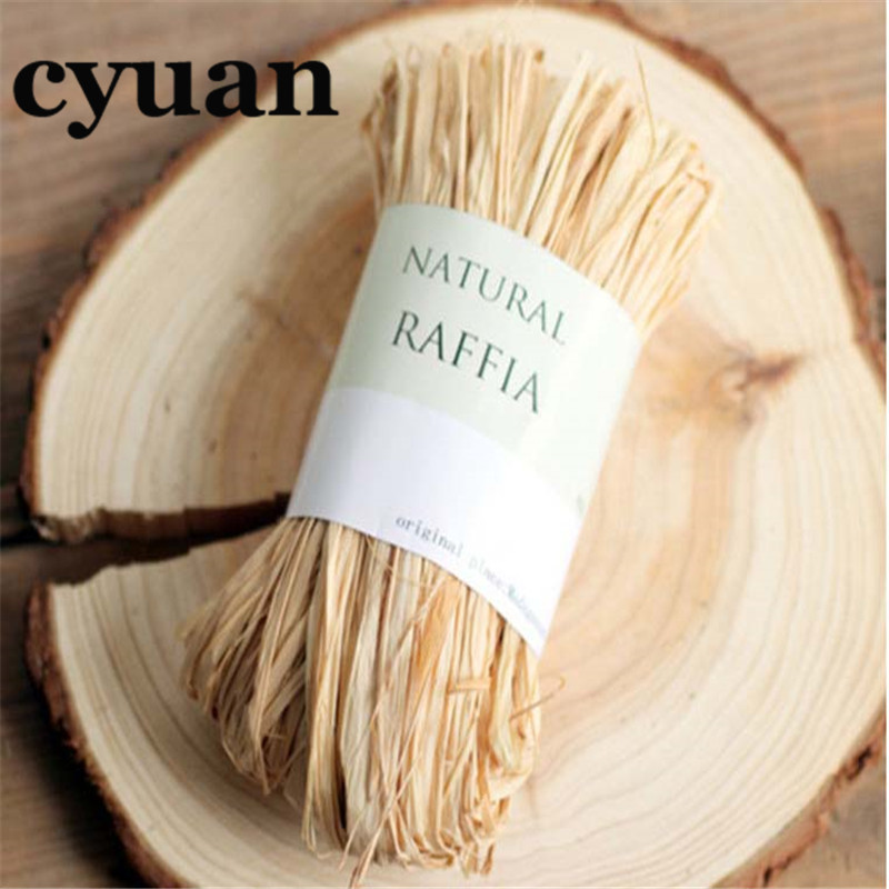 Cyuan 10m/bag Raffia Natural Rope DIY Crafts Wedding Invitation Gift Packing Rope Natural Raffia Rope Wedding Party Decor