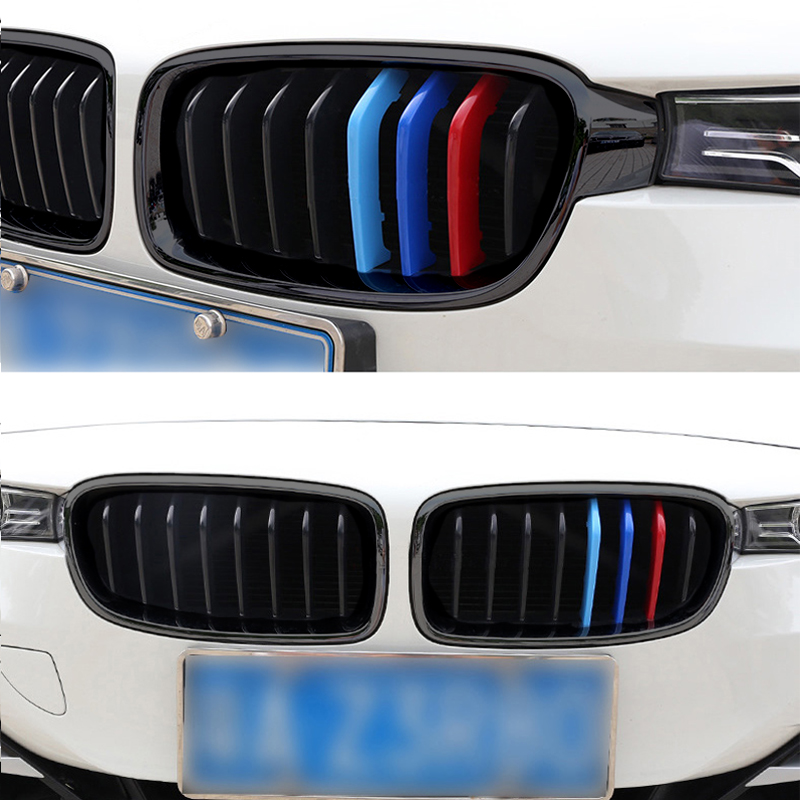купить 1 Pair Gloss Matte Black Front Bumper Kidney Grille ABS Dual Slat Gratings For BMW F30 F35 2013 2014 2015 2016 2017 по цене 3155.08 рублей
