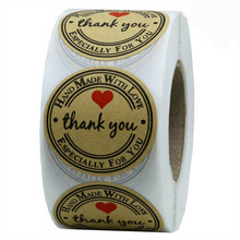 1 inch Round Natural Kraft thank you Stickers 500 Labels per roll cute stickers for seal labels handmade with love sticker