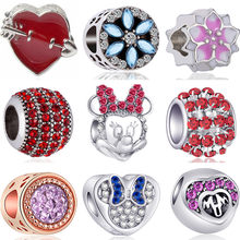 Luxurious Crystal Horse Baby Girl Panda Flowers Mickey Beads Charms Fit Original Pandora Bracelets for Women Valentine's Day DIY(China)
