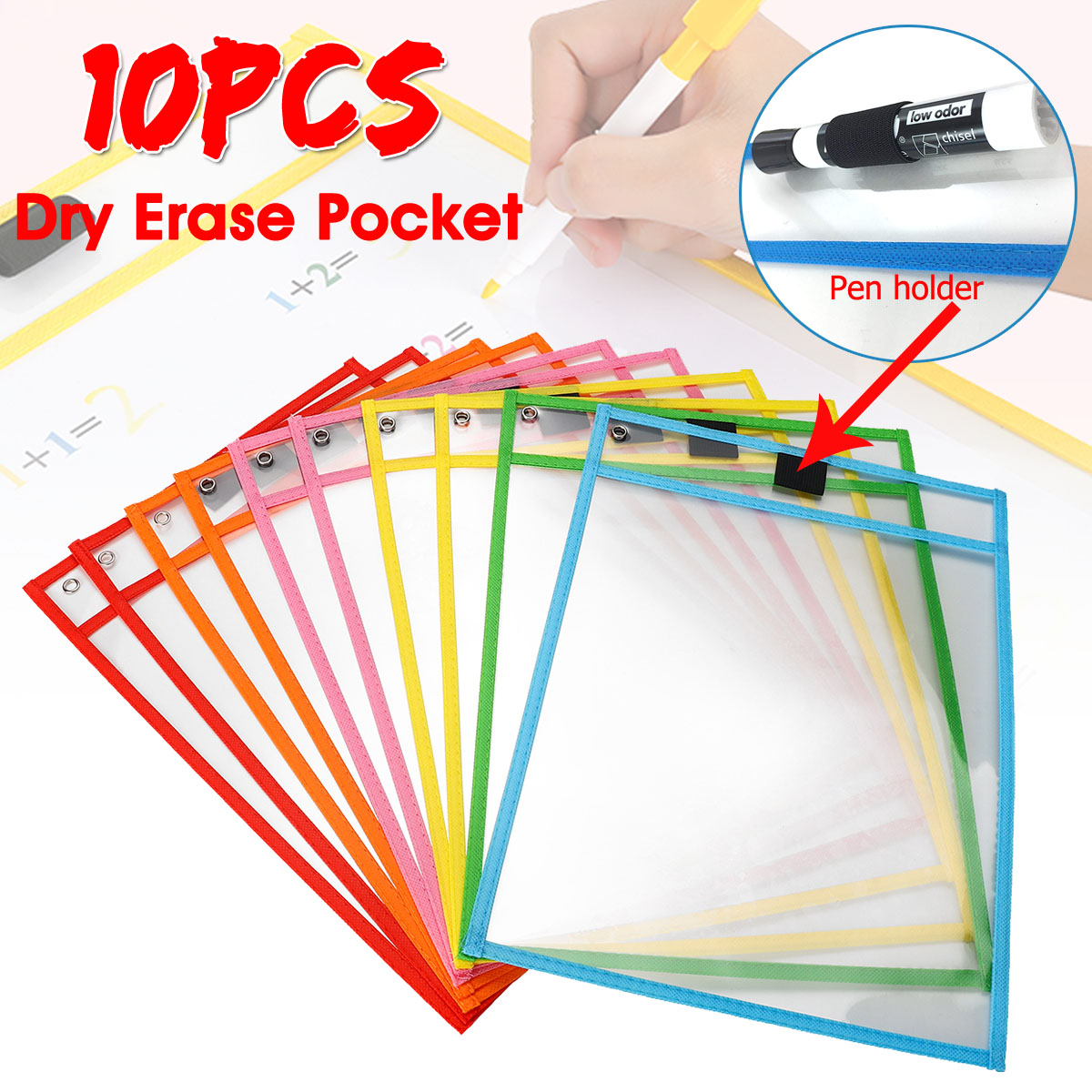10Pcs Write And Wipe Reusable  Pocket Classroom Organization Environmental Protection Students Kids Tools School Kits