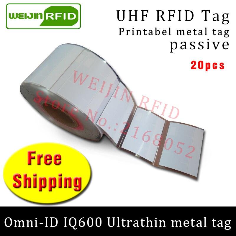 UHF RFID ultrathin metal tag omni-ID IQ600 915m 868m Impinj M4QT EPC 20pcs free shipping printable synthetic passive RFID label