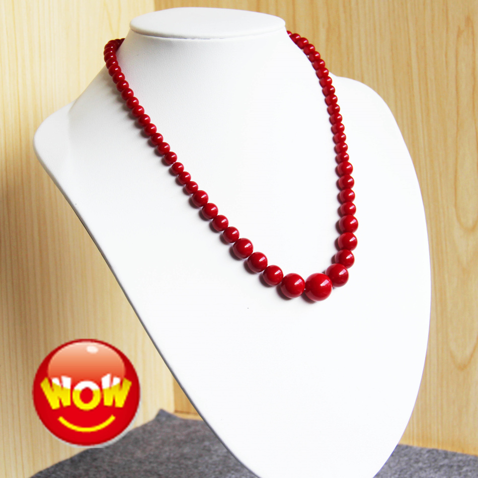 New 6-14mm Natural Gift <font><b>Red</b></font> Imitation Pearl Necklace women girls beads Natural stone beads18inch Jewelry making design wholesale image