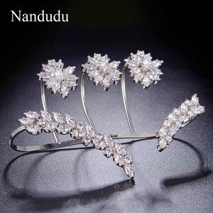 Image 4 - Nandudu Nice Cubic Zirconia Palm Bracelet  White Gold Color Hand Cuff Fashion Bangle Jewelry Women Girl Gift R1116