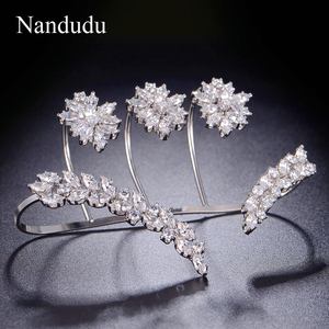 Image 4 - Nandudu נחמד מעוקב Zirconia פאלם צמיד לבן זהב צבע יד שרוול אופנה צמיד תכשיטי נשים ילדה מתנה R1116