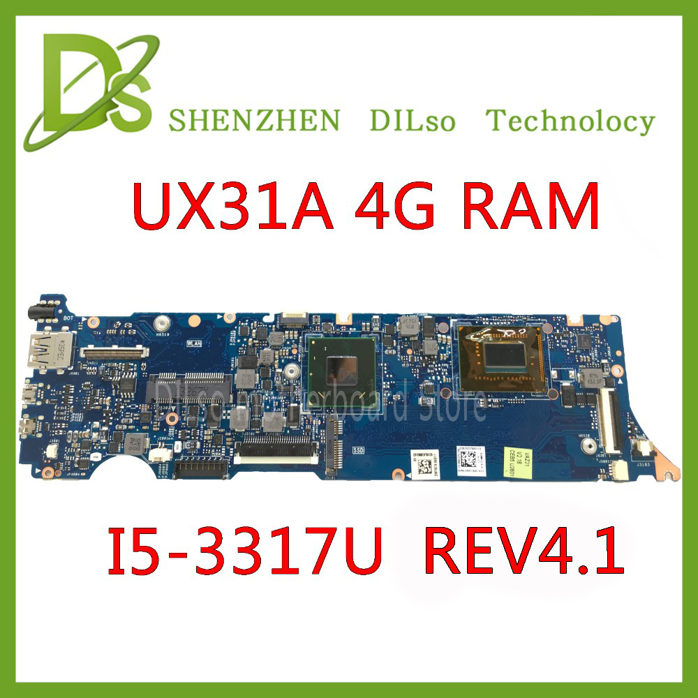 KEFU UX31A For ASUS UX31A UX31A2 Laptop motherboard UX31A i5-3317U CPU 4G RAM rev4.1 UX31A mainboard Test available laptop motherboard for asus ux31a mainboard ux31a2 rev4 1 with i5 cpu fully tested