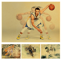 Stephen Curry basketball star vintage poster of a vintage kraft paper bar decorative wall sticker classic paintings