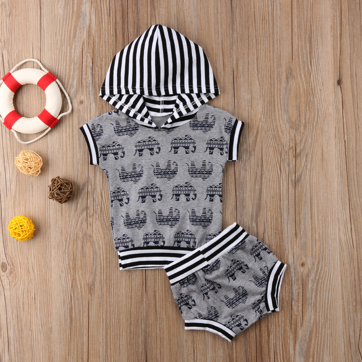 Casual Newborn Kids Baby Boys Clothes Set Cute Elephant Hooded Tops T-Shirt Shorts Outfits infant boys Clothes