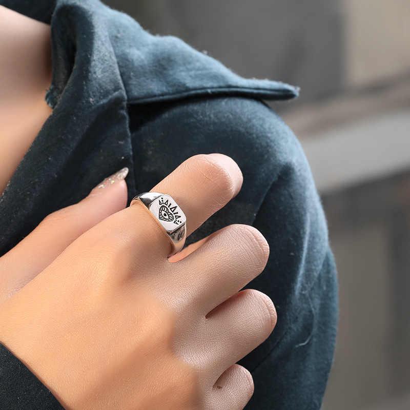 Fengxiaoling Real 925 Sterling Silver Gothic Totem รูปแบบ Openwork แหวนผู้หญิงรอบรูปแบบสแควร์แฟชั่นเครื่องประดับ