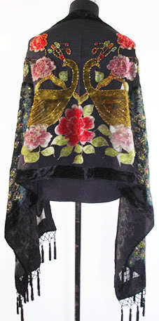Free Shipping Black Women's 100% Silk Velvet Muffler Beaded Embroidery Cape Floral Poncho Dropshipping Size 176 x 68cm WS006