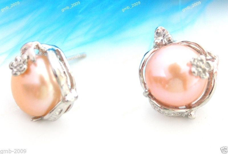 Fashion 11-12MM Natural Pink Akoya Cultured Pearl Crystal Drop Pendant Necklace