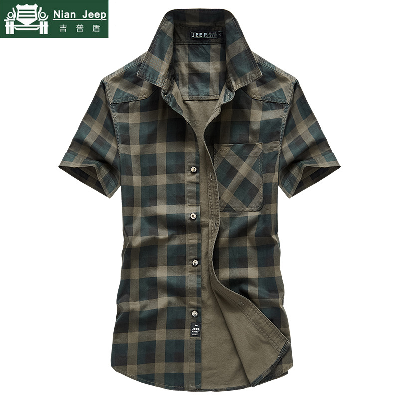 New 2019 Summer Military Plaid Shirts Men Brand Outwear Cotton Breathable Short Sleeve Shirts Male Size M-4XL Camisa Masculina