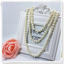 Hot style joker pearl knot method of multiple wear long necklace sweater chain beaded