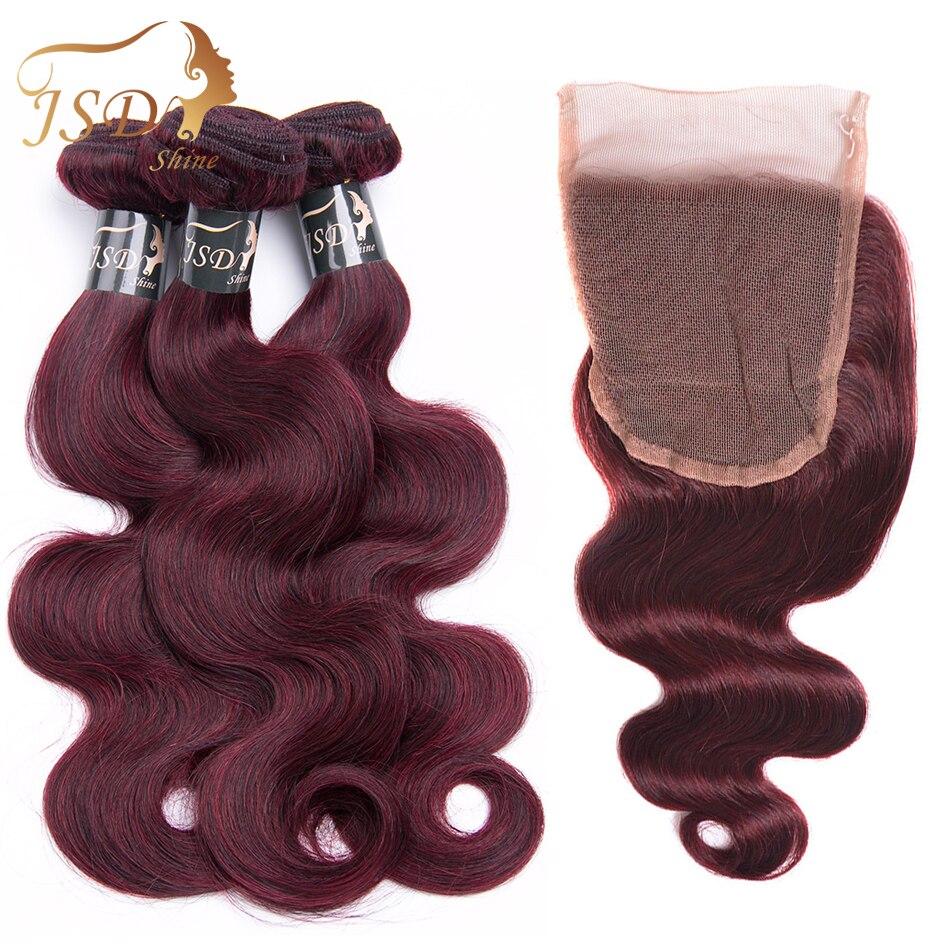 JSDShine Red 99J Burgundy Brazilian Body Wave Human Hair Weave 3 Bundles With Closure Non Remy