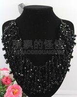 N090525 18'' Hand Made Silk 8mm Natural Black Crystal Necklace