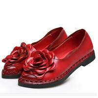 Handmade Shoes Spring And Autumn National Style Flower Retro Shoes Leather Shoes Soft Sole Leather
