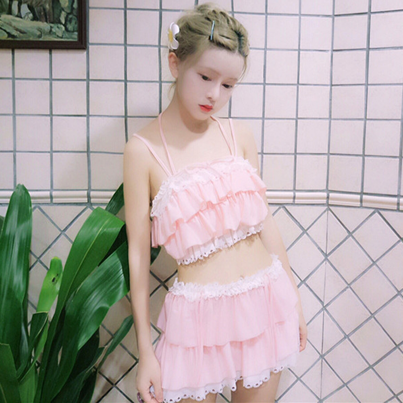 Summer Sexy Push Up Bikinis Women Swimsuit Japanese Costume Lace Ruffle Kawaii Cute Swim Wear Suits High Waist Bathing SwimSuits