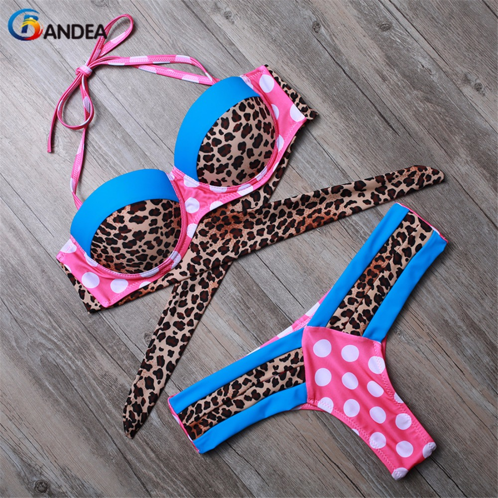 2019 Summer Push Up Swimsuit Beach Bandeau Women Print Leopard Swimwear Thong Bathing Suit Bikini Set Brazilian Maillot De Bain