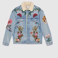Spot All Men And Women Embroidery Cowboy Lamb Wear flower stitch butterfly beauty design Padded Jacket cotton linning parkas