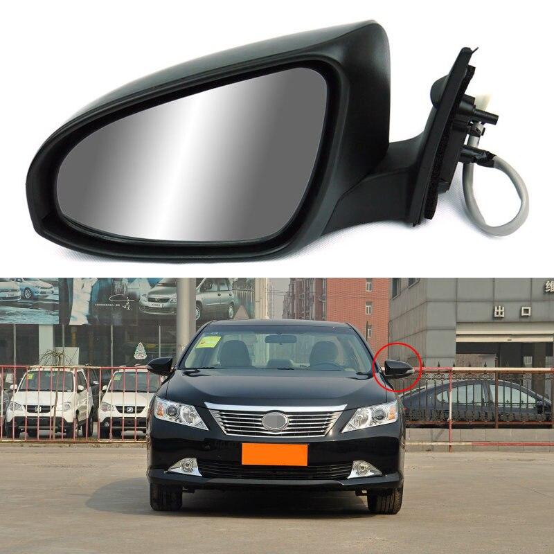 Savanini 9 broches côté extérieur automatique repliable puissance réglable et chauffé LED en verre clignotant miroir pour Toyota Camry 2012-2013
