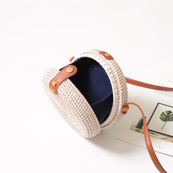 Black White Round Straw Bags Women Summer Bag 1