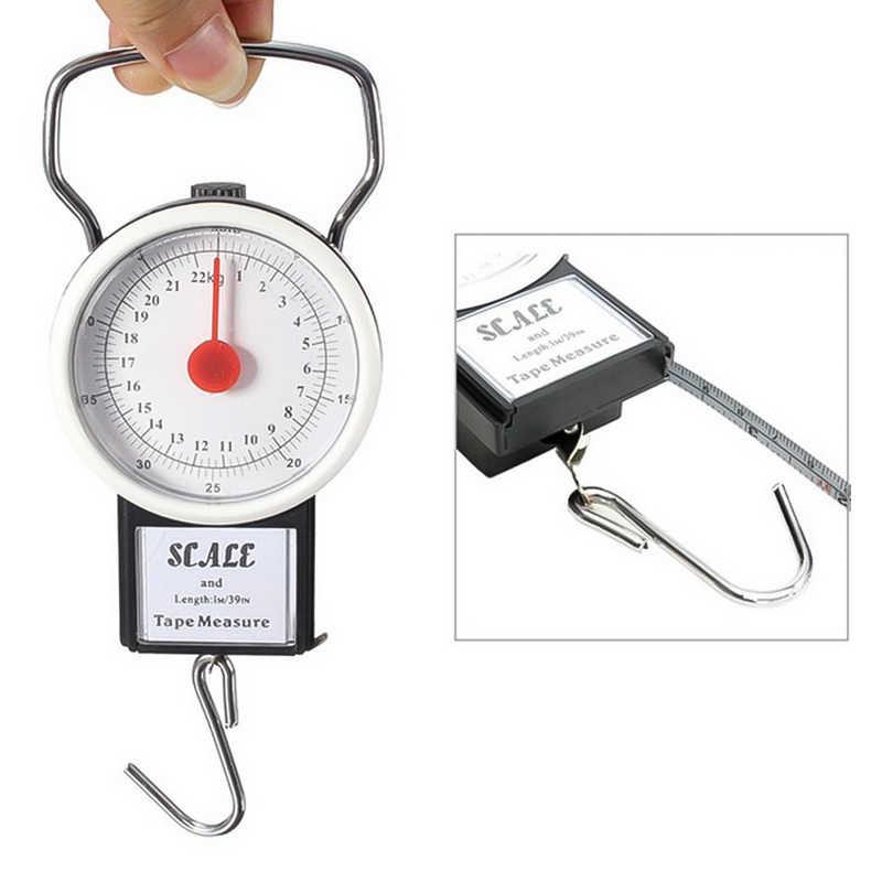 22kg multifonction Mini cadran Balance à bagages Portable Balance suspendue avec 1m ruban à mesurer Balance FKitchen crochet balances