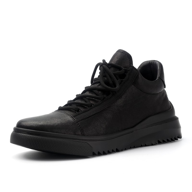 Homme décontracté chaussures en cuir de haute qualité bout rond à lacets chaussures en cuir véritable marque de luxe hommes printemps mode doux noir chaussures - 4