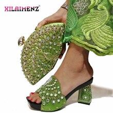 イタリア党の靴とバッグセット 2019 ホット販売ナイジェリアの靴やバッグが靴とバッグセット輝くクリスタル
