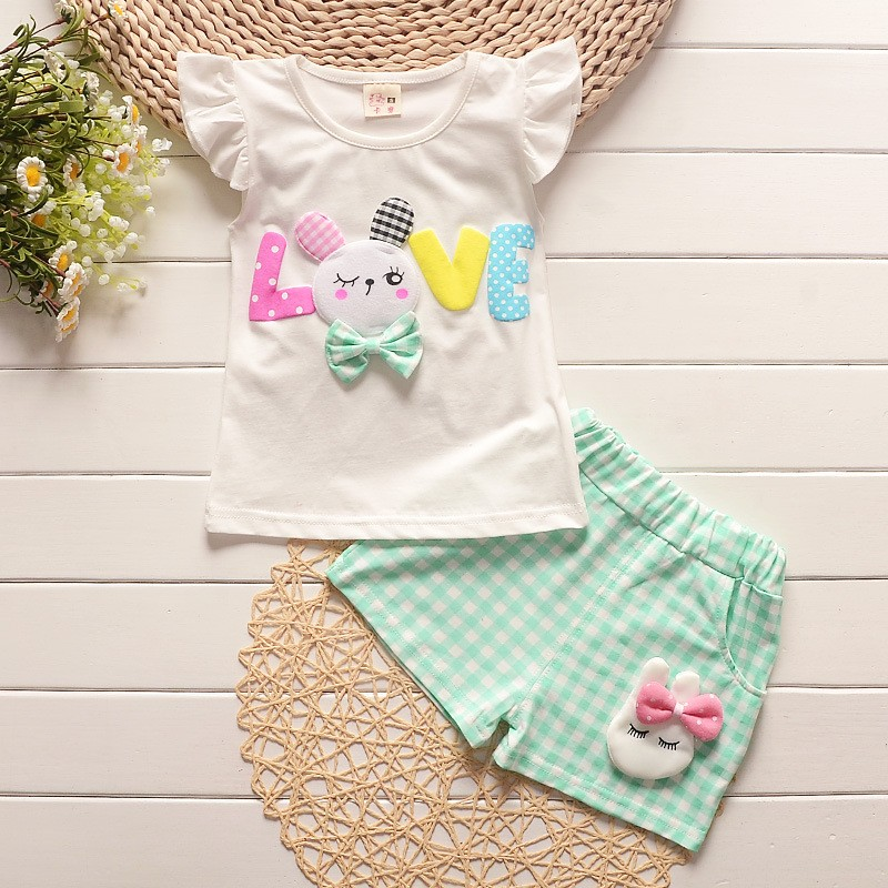 2018 toddler children summer baby girls clothing sets cartoon casual suit plaid clothes set white t shirt+short pants sleeveless 2pcs set summer baby girl clothes set fashion sleeveless white tops casual long pants children girls clothing sets