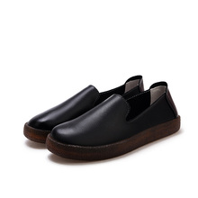 CHANGYUGE Women Loafers Shoes Real Leather Slip on Rubber Ballet Black Shoe Soft Comfortable Flats Ladies Casual Moccasin Spring