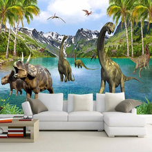 Custom Wall Cloth 3D Dinosaur Forest Mural Wallpaper Children's Kids Bedroom Living Room Backdrop Wall Covering Home Decor Mural(China)
