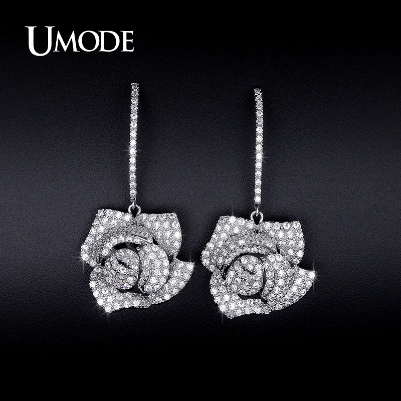 font b UMODE b font Simulated Diamond Flower Dangle font b Earrings b font For