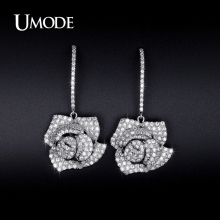 UMODE Simulated Diamond Flower Dangle Earrings For Women Jewelry Fashion Newest Brincos Para As Mulhere Christmas Gifts AUE0231