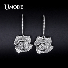 UMODE Brand Hot Crystal Flower Dangle Earrings For Women Jewelry Fashion Newest Brincos Para As Mulhere