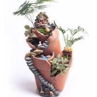 Creative Resin Flower Pot For Succulent Plants Micro Landscape Pot Home Garden Decoration Planter