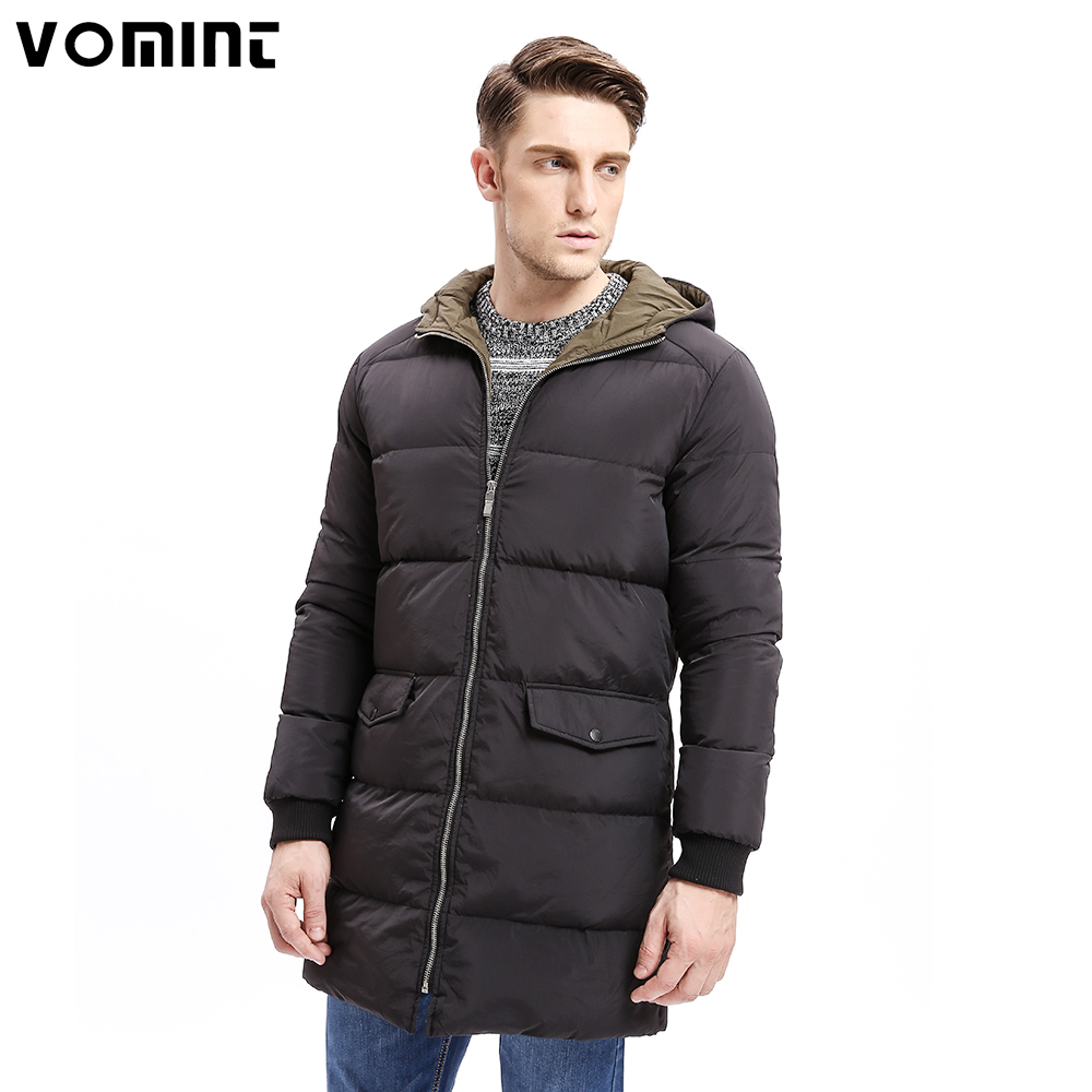 Vomint 2017 Winter Men   Down   Hoodie   Coat   Heavy-weight Zipper 80%   Down   Warm Long Jackets Solid Color Basic Big Pockets O6WI9273