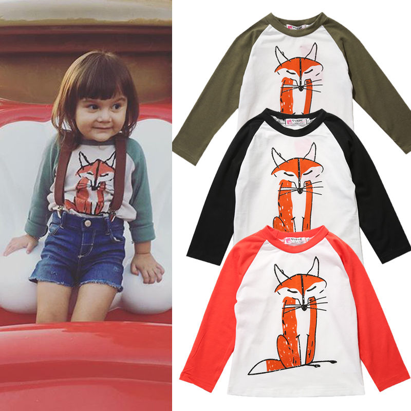 533960b66 New Nice Fox Kids Girls Boys T shirts Top Kids Clothes Child Blouse  Clothing Long Seeve Spring Autumn kids tops for girls-in T-Shirts from  Mother & Kids on ...