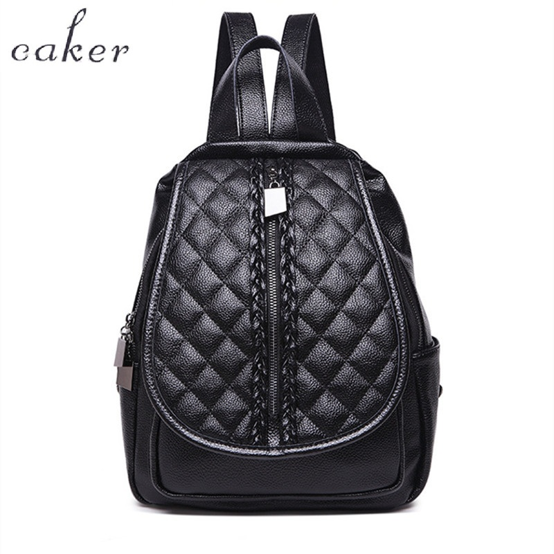 Caker Diamond Lattice Backpack Cow Genuine Leather For Women Black Large Backpack Soft Travel Bags Ladies