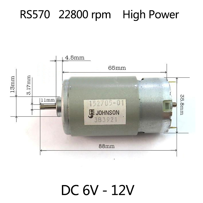 High Power RS-570 Motor DC 6-12V 22800rpm For BOSCH MAKITA DEWALT Black&Decker Cordless Electric Drill Driver Screwdriver motor silver wings silver wings серьги 22se0990 с033 97
