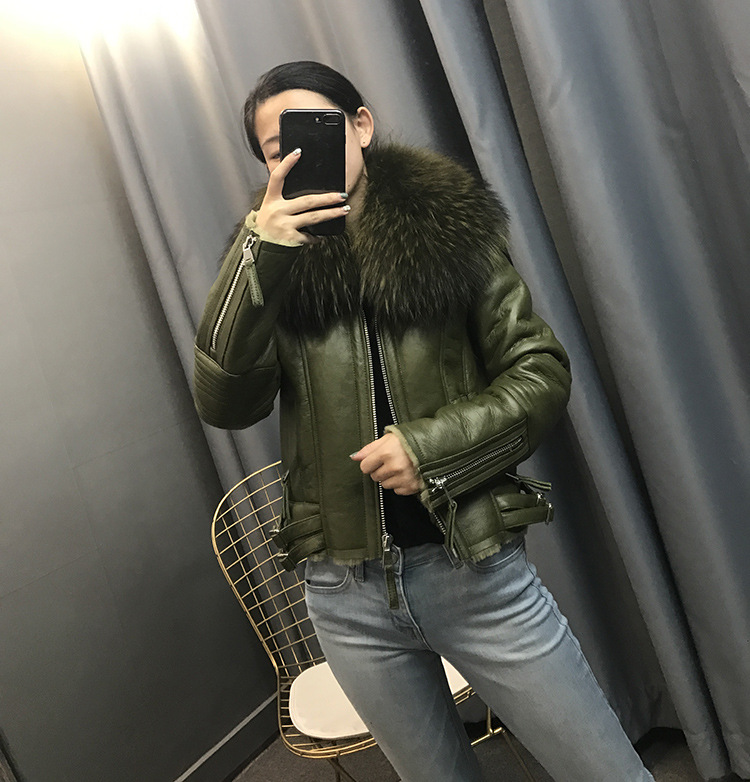 Großhandel 2018 Neue Kurze Parka Winterjacke Frauen Natürliche Echtpelz Doppelseitigen Pelz Echtem Leder Kaschmir Mantel Dicke Parkas Mode Von