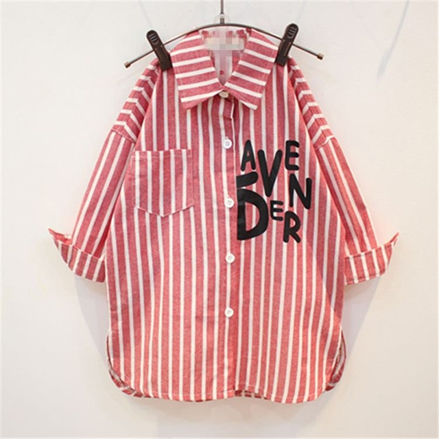 На весну для девочек осень рубашка для девочек вертикальные полосы в Детская рубашка с длинными рукавами куртка Детская рубашка туника Блузки для малышек