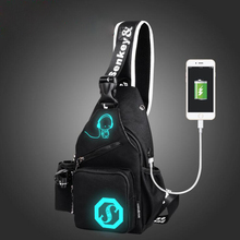 Luminous  Sling Shoulder USB Charge Single Strap Chest Bag   Crossbody Rope Triangle Pack Rucksack for School Handbag for Man