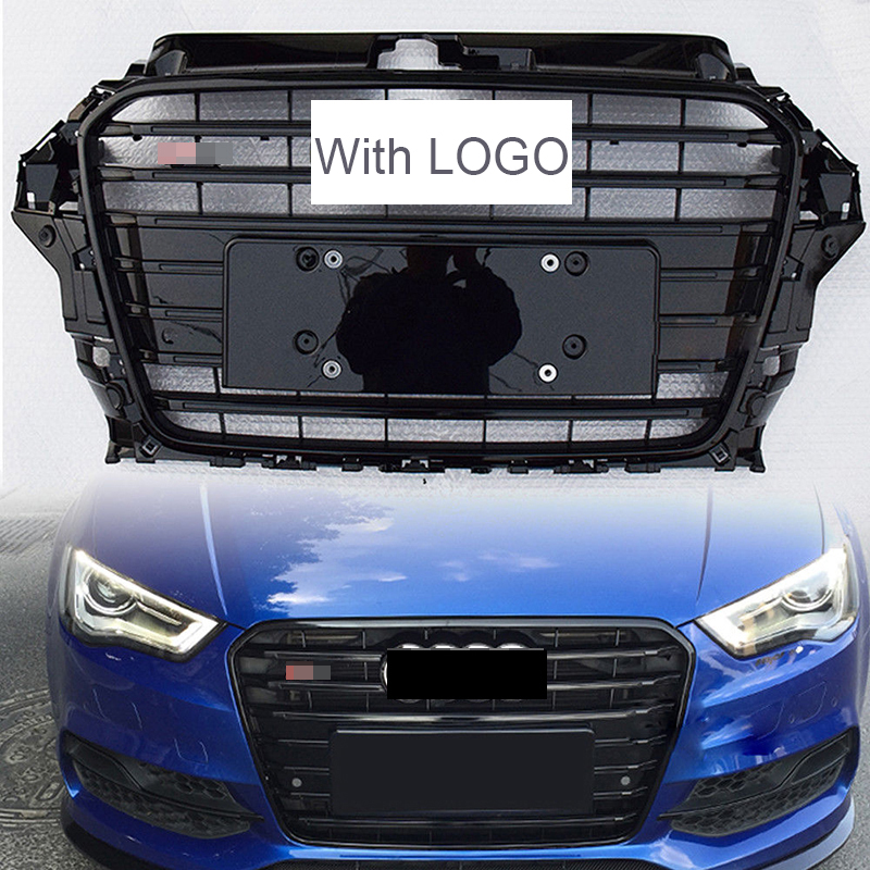 Car Racing Grille For Audi A3 Grill S3 RS3 8V Quattro 2013-2016 ABS Emblems Radiator Chrome Front Bumper Modify Mesh Henycomb brand new a3 rs3 abs oem style auto car front bumper mesh grills with camera hole for audi fit for a3 rs3 2013 2014