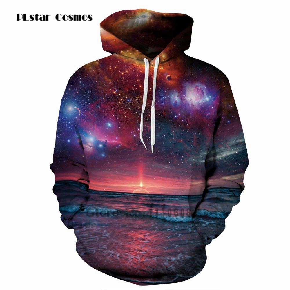 PLstar Cosmos Hoodies Space Galaxy Sweatshirts 3D New Coat Casual Streetwear Fashion Hat Sweatshirt Men Women 2018 Clothing