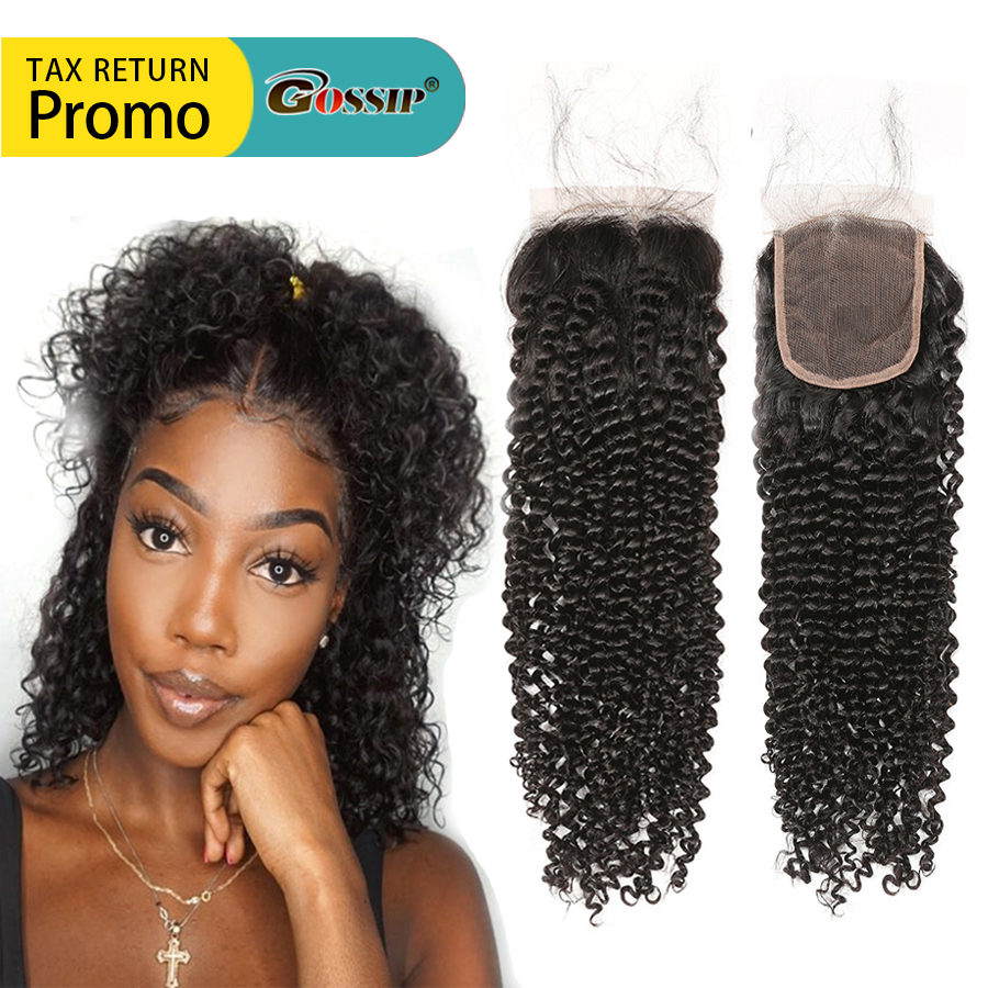 us $31.7 49% off|gossip hair brazilian remy hair weave bundles afro kinky curly hair lace closure free part lace closure human hair closures -in