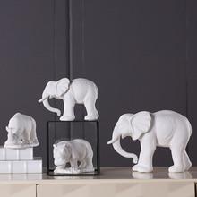 Ceramic White Matte Rhinoceros Elephant Figurine Hippopotamus Furnishings Household Tabletop Animal China